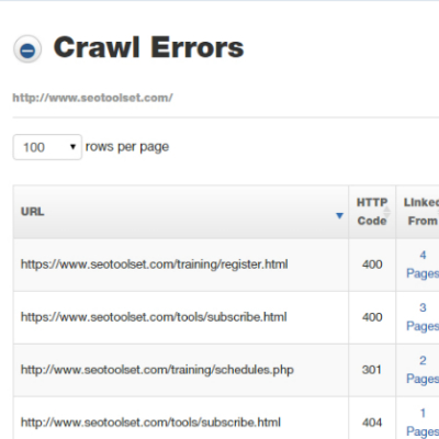 Crawl Errors report