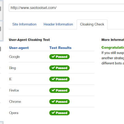 Site Checker tool